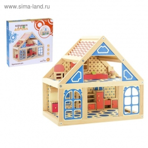 Кукольный дом 2 этажа, расписной